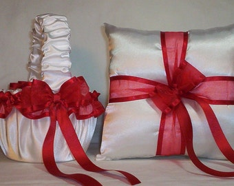 White Satin With  Red Ribbon Trim  Flower Girl Basket  And  Ring Bearer Pillow Set 3