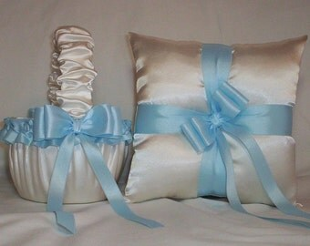 Ivory Cream Satin With Light Blue, Sky Blue, Baby Blue Ribbon Trim Flower Girl Basket And Ring Bearer Pillow