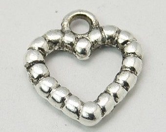 Heart Charms-Antiqued Silver-Valentines Day-25pcs-14mm