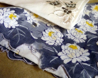 vintage Handkerchiefs, Lot of 2, white,grey and yellow