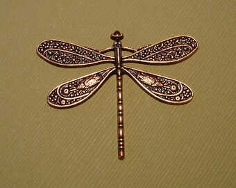 Dragonfly, Victorian Style, Alloy, Copper Pendant.