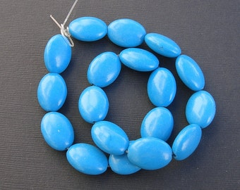 23pcs-Blue Turquoise Beads Oval 13x18mm .
