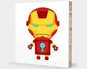 I for Iron Man : ABC Block Bamboo Wall Art Series // Alphabet Kids Wall Art Superhero Avengers