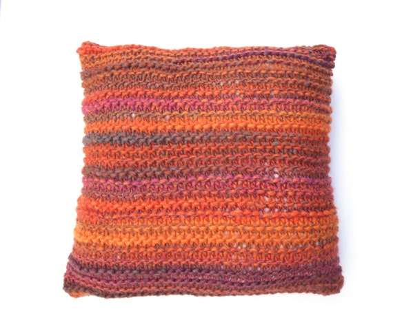 Chunky Orange Cushion Throw pillow Autumn colours , recycled and hand knitting combined. OOAK