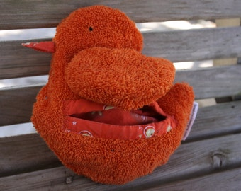 orange boo-boo duck for kids - heat therapy rice bag - cold pack - FREE U.S. shipping