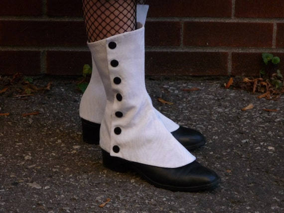Edwardian Men's Accessories White Spats $38.48 AT vintagedancer.com