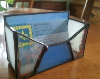 Blue and White Bizz.Card Holder