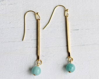 Turquoise Earrings ... Vintage Brass Stick with Seafoam Aqua Bead Chalcedon