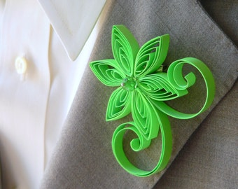 Neon Green Boutonniere, Bright Green Buttonhole, Electric Green Wedding, Groom Ideas, Non Floral Boutonniere, Flower Alternative