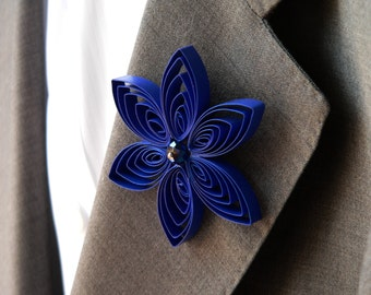Royal Blue Boutonniere for Formal, Blue Prom, Blue Quinceanera, Blue Sweet 16, Homecoming
