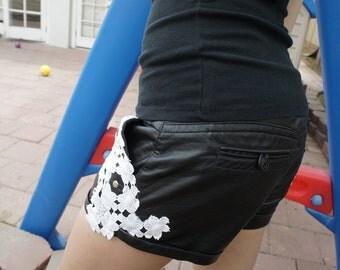 SALE Olivia Paige - Diy Skull Studs lace faux leather punk rock  shorts