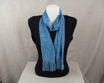 Handwoven Rayon Chenille Skinny Scarf