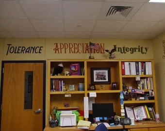 Handpainted IB Words for Caldwell Heights Prinicpal Office Decor 11 words total