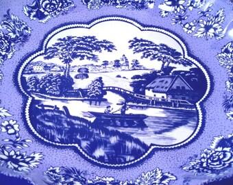 Blue Willow Tin Serving Bowl Vintage