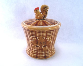 Rooster on a Basket Jam/Mustard Jar with Spoon on Lid Vintage 70s