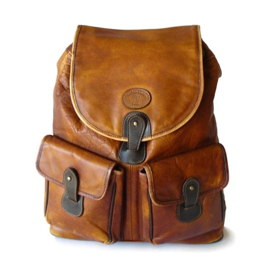 Vintage Distressed Landy Western Leather Tan Boho Drawstring
