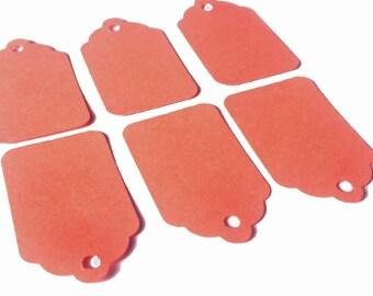 """50 Salmon Paper Gift Tags 1 1/2"""" x 15/16"""" 65lb Repurposed Cardstock Paper"""