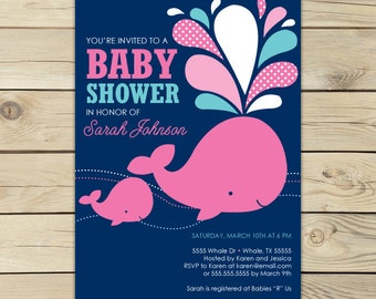 Girl Whale Baby Shower Invitation Printable - Pink Whale Baby Shower - Pink and Navy Blue - Under The Sea Party - Nautical Baby Shower
