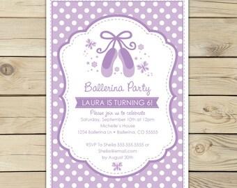 Ballerina Birthday Invitation Printable - Lavender Birthday Invitations - Ballerina Invitation - Ballerina Party  - Ballet Party Invitations