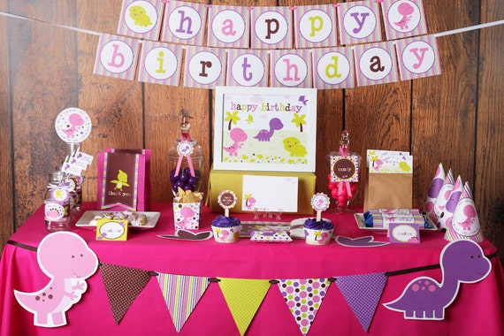 Girl Dinosaurs Birthday Party Printable Decorations Instant