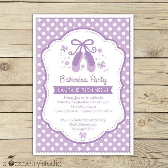 ballerina birthday invitation printable  lavender birthday, Birthday invitations
