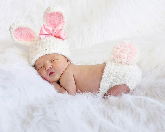 White Bunny Hat and Diaper Cover, Photo Prop, Newborn to 6 Months, Baby Bunny Set, Easter Bunny Hat, Baby Costumes, Girl Bunny, Baby Rabbit