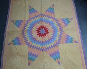Early Amish Hand-Stitched Star Quilt Pink and Yellow Cotton