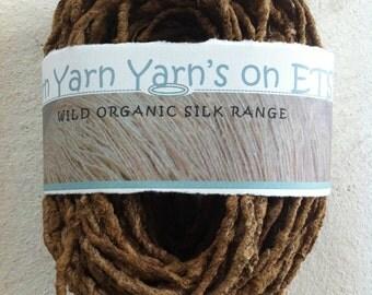 Handspun organic tassar silk yarn. Very very chunky dreadlocks style organic silk yarn, wild silk yarn, undyed silk. Non violent silk yarn.