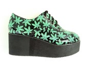 Pot Leaf Glitter Platform Creepers // 7