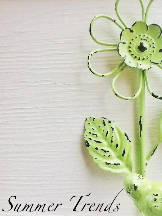 wall hook flower bird hook in lime green bath hook shabby chic