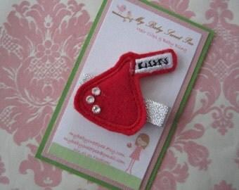 Girl hair clips - valentine hair clips - girl barrettes
