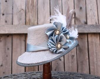 Silver and grey long fur  ladies dress Top hat