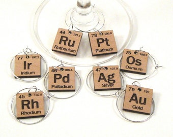 Wine Glass Charms - Periodic Table Precious Metals