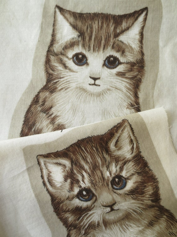 Cut And Sew Cat Fabric Panels