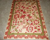 Red and Green Rose Patchwork Sampler Quilt
