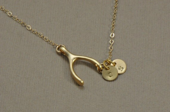 Sideways Personalized Wishbone Necklace GOLD Necklace, Bridesmaid Jewelry, Initial Jewelry, Monogram Necklace