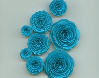 Splash Blue Handmade Spiral Paper Flowers