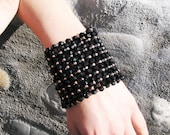 Gold Black Beadwork Beaded Jewelry / bracelets Cuff with BLACK Fire-Polished acrylic Beads