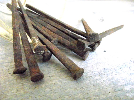 Square Cut Nails Antique 1800s Assemeblage Art Steampunk Rusty Nails Rustic Country Decor