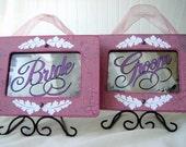 Wedding Chair Signs Pink White Bride Groom Vintage Reception Decor Antiqued Mirror Set Wedding Event Planner Mr and Mrs Romantic Victorian