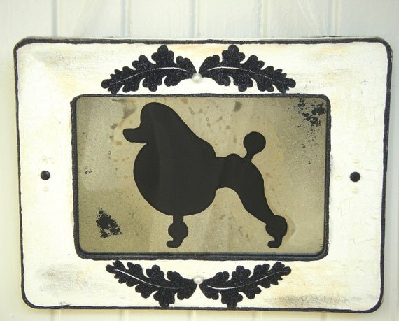 SALE Poodle Dog with White Shabby Chic Antiqued Mirror and Frame