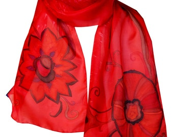 Red Silk Scarf Hand Painted. Long Silk Scarf. Natural Silk. Vibrant Red. Gift Wrapped Scarf. Hand Dyed. 72 inch long. Spring Gift Idea.
