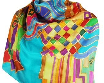 Summer City Square Silk Scarf 21.5 in x 21.5 in Wearable Art Christmas Gift Idea