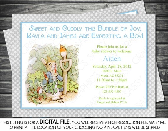 Boy Baby Shower Invitation - Peter Rabbit Theme, Gray, Polka Dots, Printable, Digital