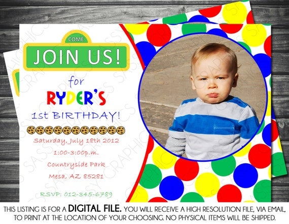 Sesame Street Inspired Photo Birthday  - Red, Blue, Green, Yellow, Printable, Digital