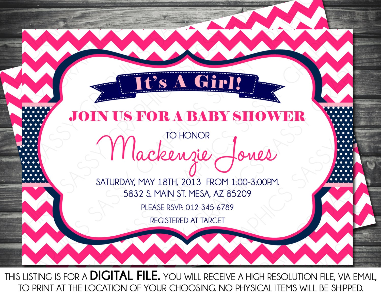 Girls Baby Shower Invitation Chevron Polka Dots Hot Pink