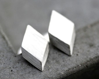 Geometric Modern Post Earrings, Brushed Sterling Silver Diamond Stud Earrings Silver Studs