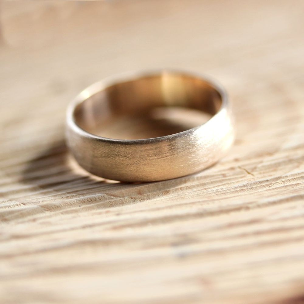 Wide Mens Gold Wedding Band Recycled 10k Yellow Gold 6mm