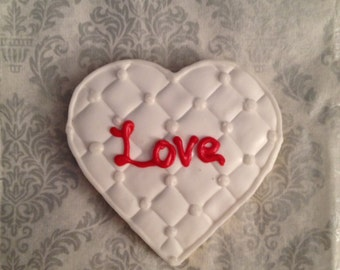 1 Dz Quilted Love Hearts Sugar cookies