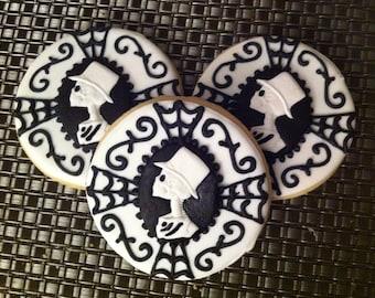 White Victorian Skull Sugar Cookies